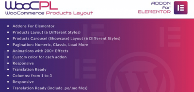 WooCommerce Products Layout for Elementor WordPress Plugin  1.0