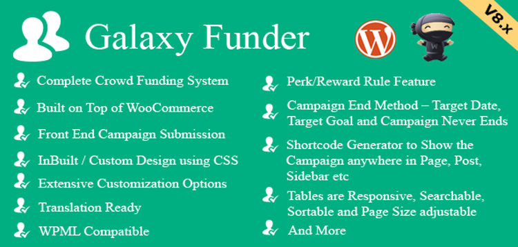 Galaxy Funder - WooCommerce Crowdfunding System 11.2